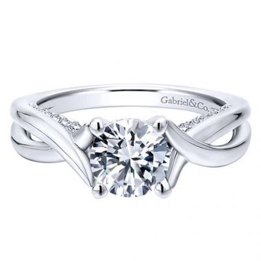 Gabriel & Co. 14k White Gold Criss Cross Diamond Engagement Ring