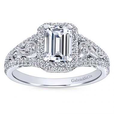 Gabriel & Co 14k White Gold Emerald Cut Halo Engagement Ring