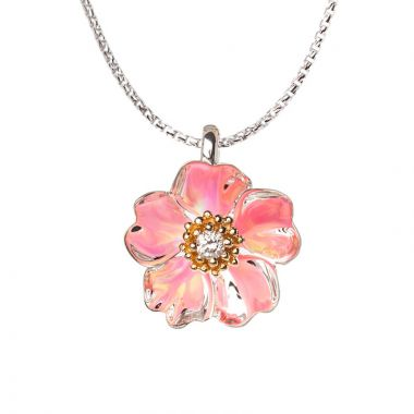 Galatea Sterling Silver 14k Gold Cherry Blossom Pendant