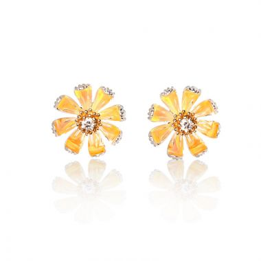 Galatea Sterling Silver 14k Gold Daisy Earrings