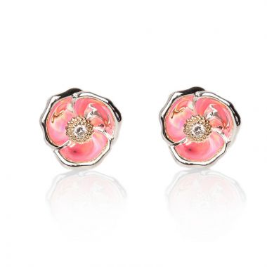 Galatea Sterling Silver 14k Gold Rose Earrings