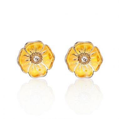 Galatea Sterling Silver 14k Gold California Poppy Earrings