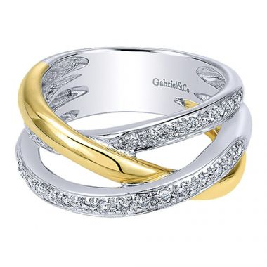 14k White and Yellow Gold Diamond Fashion Ring
