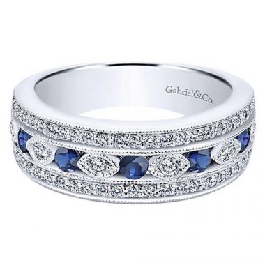 Gabriel & Co. Victorian 14k White Gold Sapphire Diamond Ring