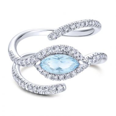 14k White Gold Diamond and Blue Topaz Fashion Ring