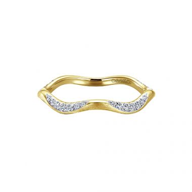 Gabriel & Co. 14k Yellow Gold Brushed Wave Diamond Stackable Ring