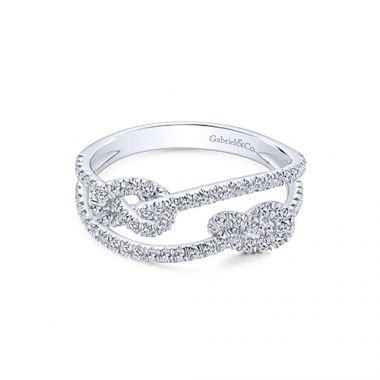 Gabriel & Co. 14k White Gold Two Row Diamond Fashion Ring with Twist Knot
