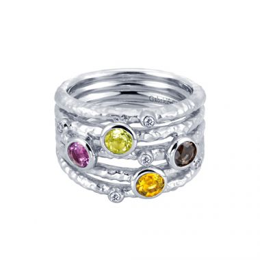 Gabriel & Co. Sterling Silver Multi- Stone Fashion Ring