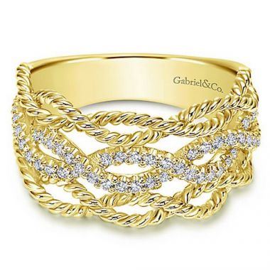 Gabriel & Co. Hampton 14k Yellow Gold Diamond Wide Band