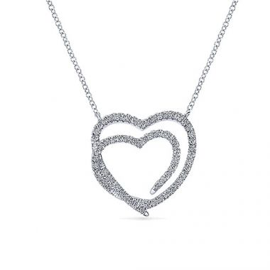 14k White Gold Eternal Love Diamond Heart Necklace