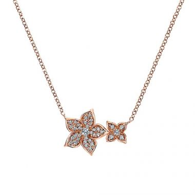 14k Rose Gold Diamond Floral Necklace