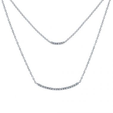 14k White Gold Diamond Indulgence Double Bar Necklace