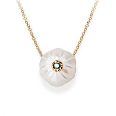 Galatea 14k Gold Pearl Flower Birthstone Necklace