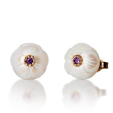 Galatea 14k Gold Pearl Flower Birthstone Earrings