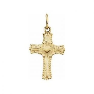 14K Yellow 13x10 mm Youth Cross with Heart Pendant