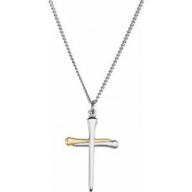 "14K Yellow Gold-Plated Sterling Silver Nail Cross 24"" Necklace"