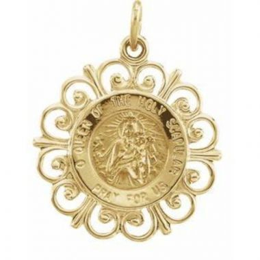 14K Yellow 18 mm Round Scapular Medal