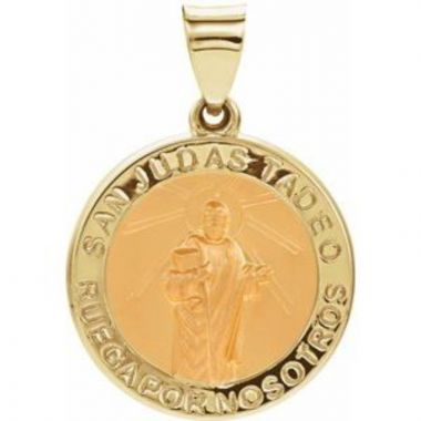 14K Yellow 18 mm Hollow Round Spanish St. Jude Medal