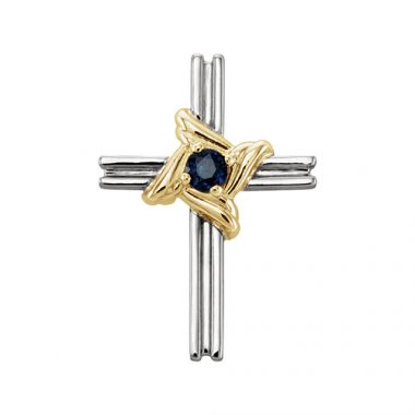 Stuller 14k White & Yellow Blue Sapphire Cross Pendant