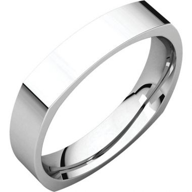 Stuller 14k White Gold Square Comfort Fit Wedding Band