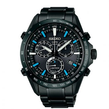 Grand Seiko Mens Astron GPS Solar Chronograph black Stainless Steel case