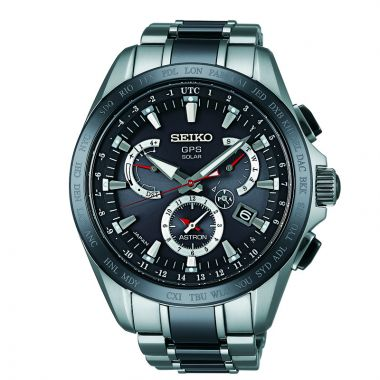 Grand Seiko Mens Astron GPS Solar Dual Time black ion finish Titanium case