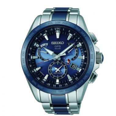 Grand Seiko Mens Astron GPS Solar Titanium case blue center stripe