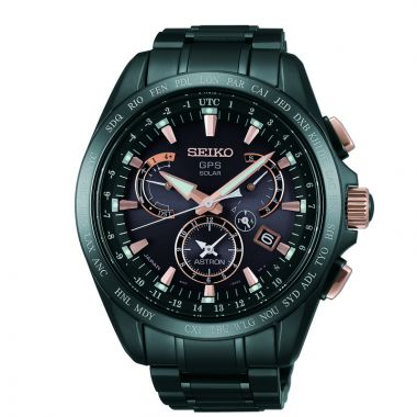 Grand Seiko Mens Astron GPS Solar Dual Time black ion Titanium case and bracelet