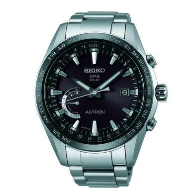 Grand Seiko Mens Astron GPS Solar World Time black ion Titanium case