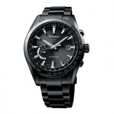 Grand Seiko Mens Astron GPS Solar World Timeblack ion Titanium case and bracelet