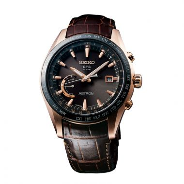 Grand Seiko Mens Astron GPS Solar World Time Titanium case brown strap