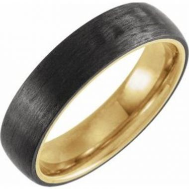 18K Yellow Gold PVD Titanium & Carbon Fiber 6 mm Half Round Band Size 7
