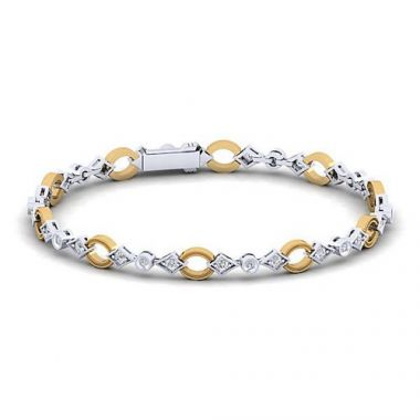 Gabriel & Co. Victorian 14k Two Tone Gold Diamond Bracelet